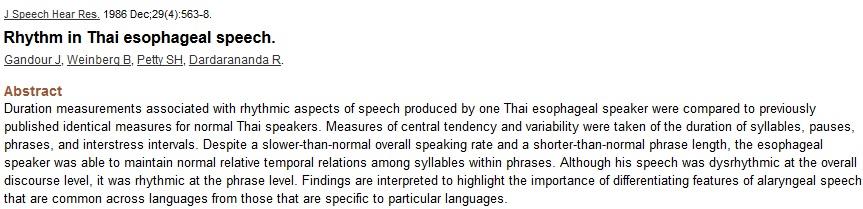 Rhythm in Thai esophageal speech