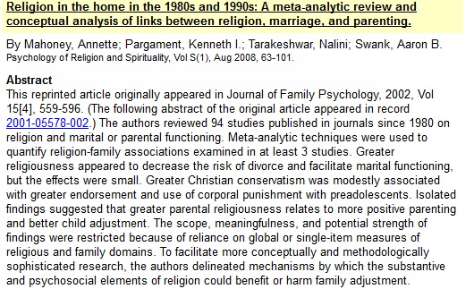 Religion in the home in the 1980s and 1990s: A meta-analytic review and conceptual analysis of links between religion, marriage, and parenting