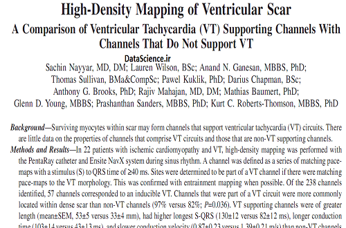 High-density mapping of ventricular scar: a comparison of ventricular tachycardia (VT) supporting channels with channels that do not support VT