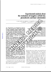 Experimental analysis about the evaluation of tungsten carbide-bur, piezoelectric and laser osteotomies
