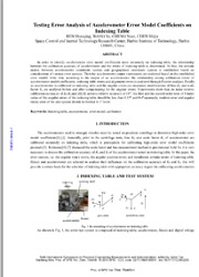 Testing error analysis of accelerometer error model coefficients on indexing table