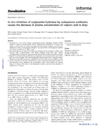 In vivo inhibition of acylpeptide hydrolase by carbapenem antibiotics causes the decrease of plasma concentration of valproic acid in dogs   Read More