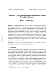 Boundary Layer Effect in Regularized Meshless Method for Laplace Equation