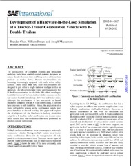 Development of a Hardware-in-the-Loop Simulation of a Tractor-Trailer Combination Vehicle with B-Double Trailers