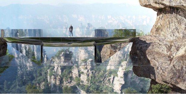 ساخت پل معلق شیشه ای در چین