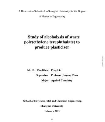 Study of Alcoholysis of Waste Poly(Ethylene Terephthalate) to Produce Plasticizer