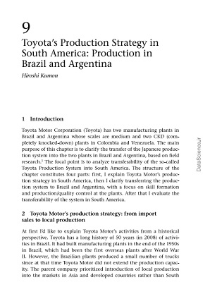 Toyota's Production Strategy in South America: Production in Brazil and Argentina