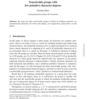 Nonsolvable groups with few primitive character degrees