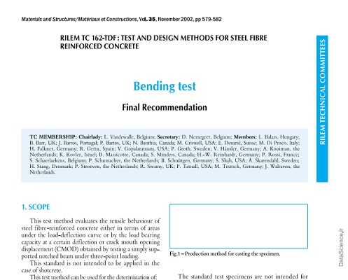 Recommendations of RILEM TC 162-TDF Test and design methods for steel fibre reinforced concrete bending test