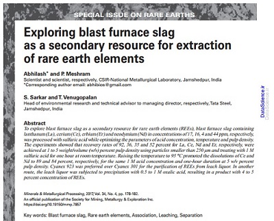Exploring Blast Furnace Slag As A Secondary Resource For Extraction Of Rare Earth Elements