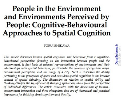 People in the Environment and Environments Perceived by People: Cognitive-Behavioural Approaches to Spatial Cognition