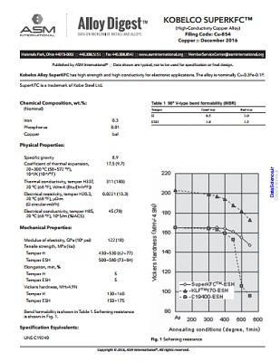 مشخصات کامل خواص فیزیکی و مکانیکی آلیاژ پایه مس KOBELCO SUPERKFC
