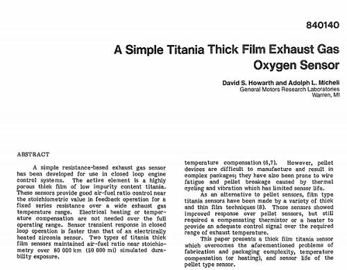 A Simple Titania Thick Film Exhaust Gas Oxygen Sensor